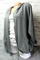 Italy Jacke Gr. 36 38 40 42 grau Sweatjacke Kapuze blogger Sweat Print Zipper