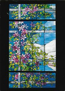 New York, Tiffany Studios, Leaded Favrile Glass, an unused coloured postcard