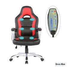 Race Car Computer Office Massage Chair Heated Vibrating PU Leather Ergonomic