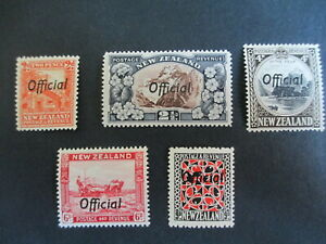 NEW ZEALAND - 1936-61, PART SET OF 5 OFFICIAL VALUES TO 9d, VERY FINE,  LOOK MNH
