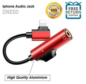 3.5mm Headphone Jack Adapter Cord For iPhone 6 7 8 PLUS X XS 11 Cord Dongle RED