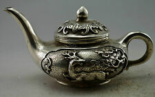 Collectible Decorated Old Handwork Silver Plate Copper Carved Deer Tree Tea Pot