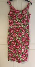 Laura Ashley Fuschia Cerise Pink, Green White Floral Shift Dress Size 10 - NWOT