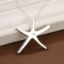 Fashion Jewelry 925 Sterling Silver Beautiful Necklace Starfish Solid Pendant
