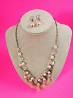 Double Chain Simulated Pearl Teardrop Silvertone Pendant Necklace & Earrings.
