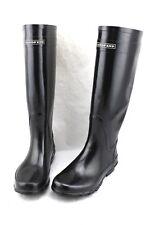 LANDS' END Classic Black Knee High Tall Wellies Rubber Rain Boots 7