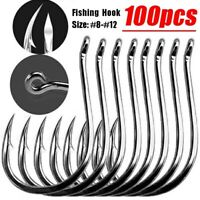 Durable Silver Fishing Hooks with Hole Carp Fishing Tackle 100PCS (Size: #8-12)