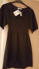 Ladies black knitted short sleeve dress/tunic top. Size 8. By George.
