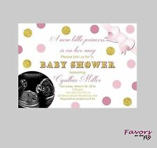 Pink Gold Baby Shower Personalized Invitation with Ultrasound Photo