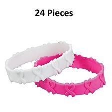 "3D Pink and White Ribbon Bracelets (24 Pieces) Rubber. Diameter: 3"""