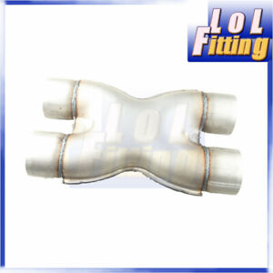 """Universal Exhaust Crossover X Pipe 2.25"""" 2 1/4"""" Inlet Outlet Aluminized Steel"""