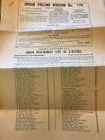 1965 Urban Polling Division No. 178 Canada Elections, Electors Vintage Paper E93