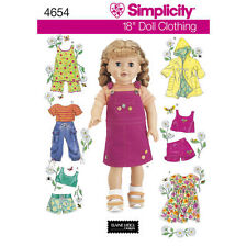 "Simplicity Sewing Pattern 4654 Dolls Clothes18"" Dress Tank Top Skirt Shorts Coat"