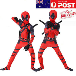Kids/Adult Superhero Deadpool Cosplay Costume Family Party Masquerade Jumpsuit