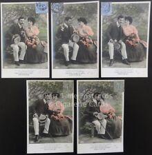 """c1900's French Card Set of 5 ROMANCE/AMOUR """"Voici, man cousin, c'est tres grave"""""""