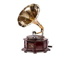Grammofano Ottagonale riproduzione d'epoca in legno con tromba in ottone