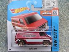 "Hot Wheels 2015 #055/250 SUPER VAN Ruby red ""FIRE CHIEF"" HW CITY CASE B"