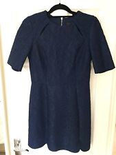 Topshop Navy Lace Pattern A-line Dress With Cutout Out Detail Size 10 Brand New