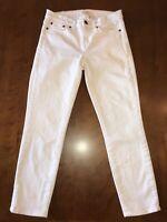 J Crew Toothpick Ankle Jeans White Stretch Denim Women's Size 26