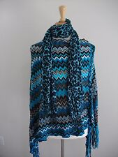 WOMENS TEAL/MULTI FRINGED BATWING/PONCH~STYLISH LIGHTWEIGHT SWEATER~ONE SIZE