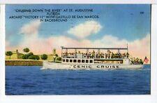 1965 - VICTORY II River Cruises, Matanzas Bay and St. Augustine FL Boat Postcard