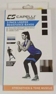 Capelli Sport 3 Pack Looped Resistance Bands Latex Multi 3 levels of resistance