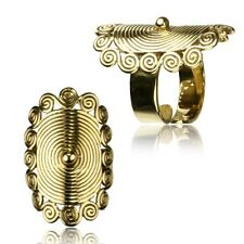 Brass Spirals Rings Adjustable Yoga Ring Hill Tribal Brass Finger Ring Polished