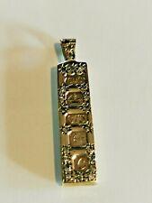 Diamond set Solid 9ct gold Ingot Pendant, Hallmarked 9ct gold c1977 FREE P&P #Cl