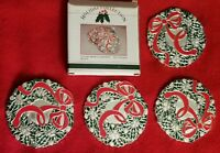 Vintage Wm A Rogers Holiday Wreath Coasters Silverplate Christmas Set - 4 in box