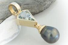 Schmuck Großer Anhänger mit Tahiti Perle Zuchtperle Aquamarin 585 Gold