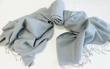 H32B NWT Solid Gray Color Pashmina Silk Shawl/ Wrap Handmade In Nepal