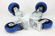 """Set of 4 - Penn Elcom 4"""" 440lb Swivel ATA Road Case Caster W0990 V6 - Blue"""