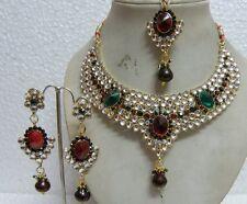 INDIAN BRIDAL RED & GREEN STONE & KUNDAN DIAMANTES NECKLACE SET