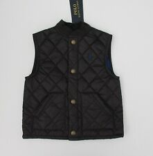 NWT Ralph Lauren Boys Sleeveless Black Water Repellent Quilted Vest Sz 4 5 $85