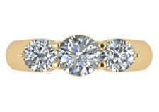 2 ct I VS2 round diamond 3 stone comfort fit low profile 3 stone ring 18k gold