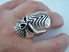 VERY HEAVY 31G LARGE SOLID STERLING SILVER ALIEN SCULL RING SIZE Y 12 GOTH BIKER