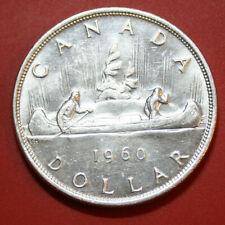 Canada-Kanada 1 Dollar 1960 Silber Coin KM# 54 SS-VF  #F2901 Kanu-Indianer