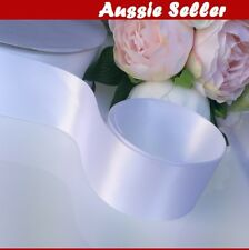 White SATIN CAR RIBBON 50 mm x 23Meters WEDDING DOUBLE FACED High Quality