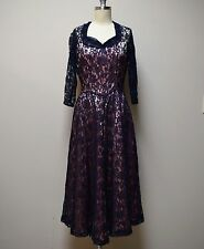 VINTAGE 30s/40s Navy Blue Lace Cocktail Formal Party Fit & Flare Dress Size XS