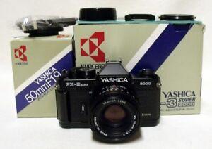 Vintage YASHICA FX-3 SUPER 2000 35mm SLR Film Camera w/f1.9 50mm ML Lens NMIB