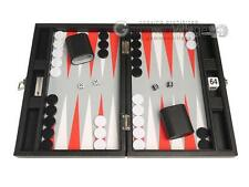 "13"" Premium Travel Backgammon Set - Black Board, White/Scarlet Red Points"