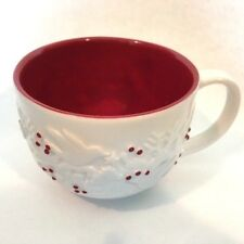 Starbucks Holiday Coffee Mug Cup 2008 Holly Berry Dove Deer Embossed Red White