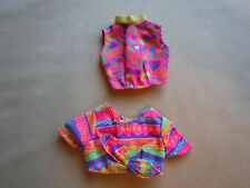 Vintage Barbie 2 Bright Pink With Multi Colors Crop Tops Excellent
