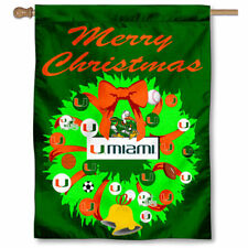 Miami Canes Merry Christmas Wreath Decorative Holiday Wreath House Flag