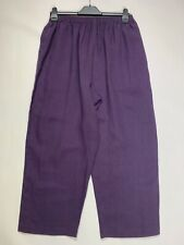 ESKANDAR Wide Leg Purple Linen Trousers Pants, Size 0