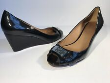 3f01aea2483 Coach Womens Black Patent Leather Wedges Size 9 B