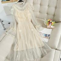Women Lace Mesh Dress Sequins Shiny Glitter Ruffle Fairy Gothic Lolita Midi Chic