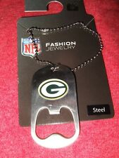 Wisconsin Green Bay Packers G Bottle Cap Opener Bead Chain Necklace NFL Football