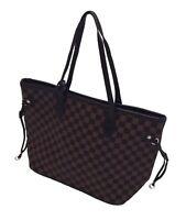 Women Ladies  Checker Designer Style Tote Bag Leather Style  Shoulder Handbag