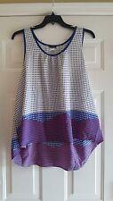 Women's Sleeveless Blouse Shirt Sz 3Xl Plus Polka Dots Hi Low Red White Blue